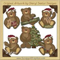 Sweet Christmas Bears Collection Graphics Clip Art Download