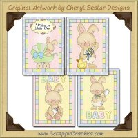 Baby Bunny Card Sampler Collection Printable Craft Download