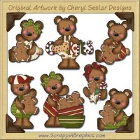 Raggedy Bears Love Gingerbread Graphics Clip Art Download