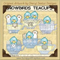 Snowbird Teacups Limited Pro Clip Art Graphics