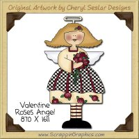 Valentine Roses Angel Single Clip Art Graphic Download