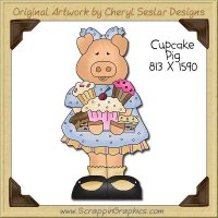 Cupcake Pig Single Clip Art Graphic Download