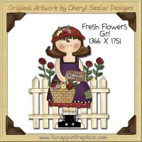 Fresh Flowers Girl Single Clip Art Graphic Download
