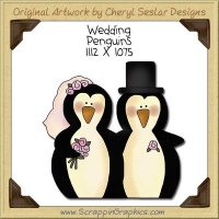 Wedding Penguins Single Clip Art Graphic Download