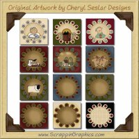 Penny Rug Squares Collection Graphics Clip Art Download