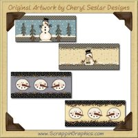 Country Snowmen Soup Can Wrappers Graphics Clip Art Download