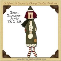 Green Snowman Annie Single Clip Art Graphic Download