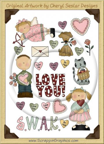 Reseller -Valentine Wishes Sticker Page Clip Art Graphics