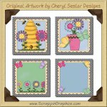 Butterflies & Blooms Blocks Graphics Clip Art Download