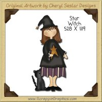 Star Witch Single Clip Art Graphic Download