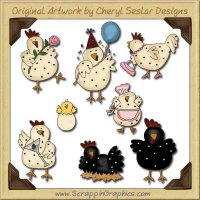 Silly Chicks Collection Graphics Clip Art Download