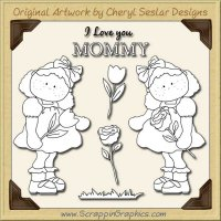 I Love You Mommy Digital Stamp Set Clip Art Graphics