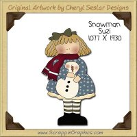 Snowman Suzi Single Clip Art Graphic Download