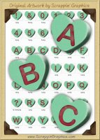 3D Green Conversation Hearts Letters & Numbers Clip Art Graphics