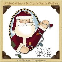 String Of Lights Santa Single Clip Art Graphic Download