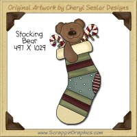 Stocking Bear Single Clip Art Graphic Download