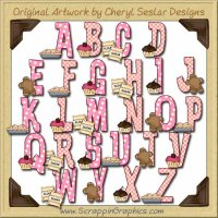 Bakery Goodies Alphabet & Numbers Clip Art Graphics