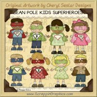Bean Pole Kids Superhero Limited Pro Clip Art Graphics