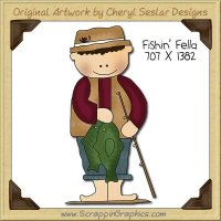 Fishin' Fella Single Clip Art Graphic Download