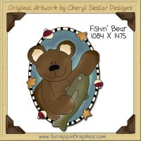 Fishin' Bear Oval Single Clip Art Graphic Download