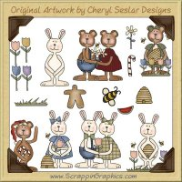 Bunnies & Bear Clip Art Download