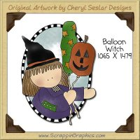 Balloon Witch Single Clip Art Graphic Download