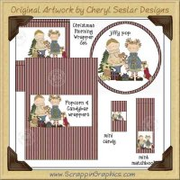 Christmas Morning Wrapper Set Printable Craft Collection Graphic
