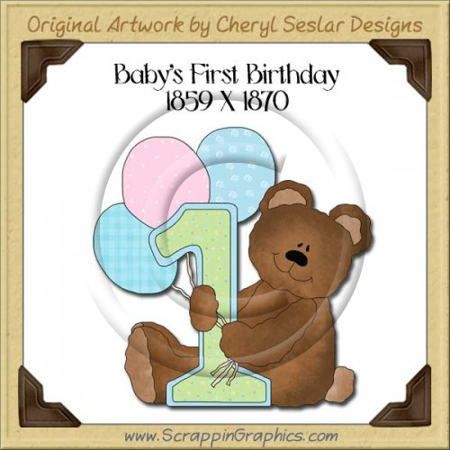 Baby's First Birthday Single Graphics Clip Art Download