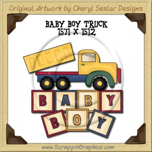 Baby Boy Truck Single Graphics Clip Art Download
