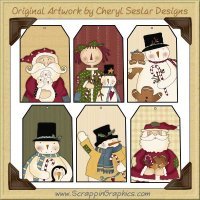 Folk Art Christmas Tags One Collection Printable Craft Download