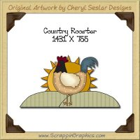 Country Rooster Single Graphics Clip Art Download
