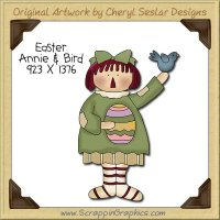 Easter Annie & Bird Single Clip Art Graphic Download