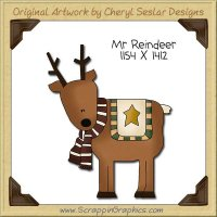 Mr Reindeer Single Clip Art Graphic Download