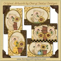 Sunflower Bears Sampler Card Printable Craft Download