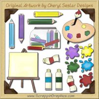 Art Supplies Collection Graphics Clip Art Download