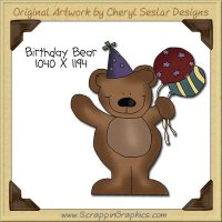 Birthday Bear Single Clip Art Graphic Download