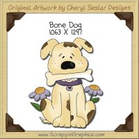 Bone Dog Single Clip Art Graphic Download