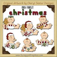 Sweet Baby First Christmas Limited Pro Clip Art Graphics