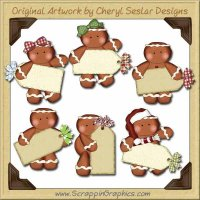 Gingerbread Christmas Tags Clip Art Download