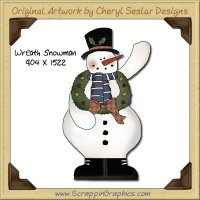 Wreath Snowman Single Graphics Clip Art Download