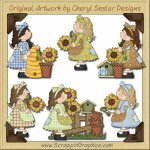 Patchwork Sunflower Girls Limited Pro Graphics Clip Art Download