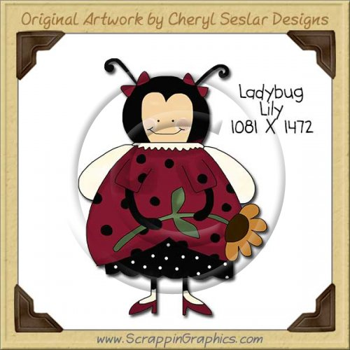 Ladybug Lily Single Clip Art Graphic Download