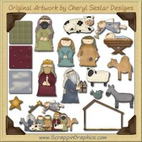 Whimsical Nativity Graphics Clip Art Download