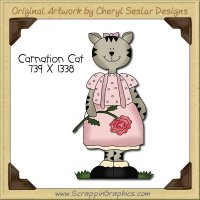 Carnation Cat Single Clip Art Graphic Download