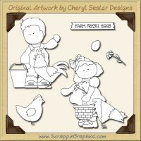 Chicken Coop Kids Digital Stamp Set Limited Pro Clip Art Graphics