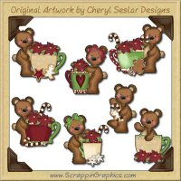 Raggedy Bears Christmas Cups Graphics Clip Art Download