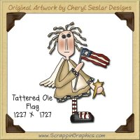 Tattered Ole Flag Single Graphics Clip Art Download