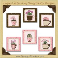 Flowers & Tea Blocks Graphics Clip Art Download