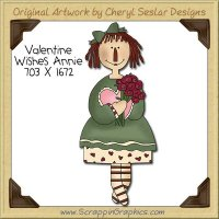 Valentine Wishes Annie Single Clip Art Graphic Download