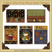 Autumn Leaves Cards Collection Printable Craft Download